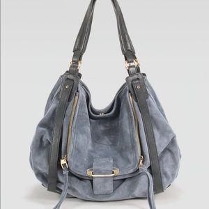 Kooba johnnie blue suede leather hobo bag